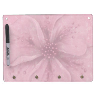 Pretty Pink Floral Dry Erase Board With Key Ring Holder