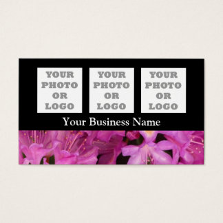 Pretty pink floral flower on black business card