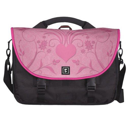 Pretty Pink Floral Hearts Design Computer Bag