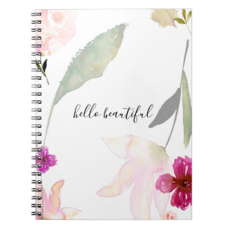 Pretty Pink Floral Hello Beautiful Notebook