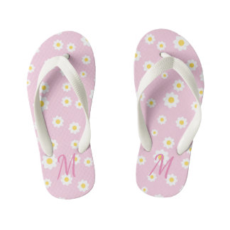 Pretty Pink Floral Monogram Girl Flip Flops