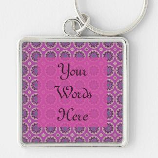 Pretty Pink floral pattern Key Ring