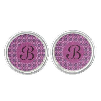 Pretty Pink floral pattern Monogram Cufflinks