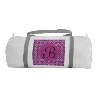 Pretty pink floral pattern Monogram Gym Bag