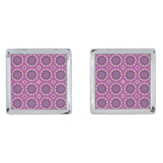 Pretty Pink Floral Pattern Silver Finish Cufflinks