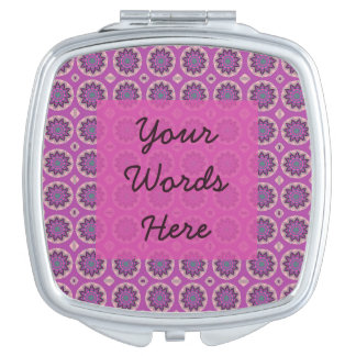 Pretty Pink Floral Pattern Travel Mirror