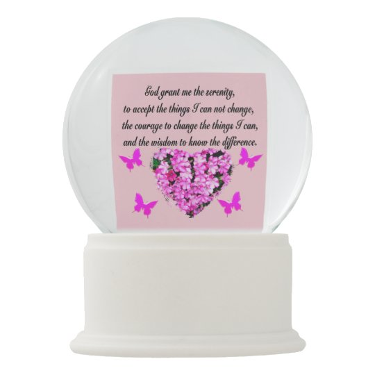 PRETTY PINK FLORAL SERENITY PRAYER SNOW GLOBES