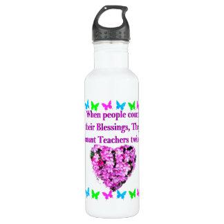PRETTY PINK FLORAL TEACHER DESIGN 710 ML WATER BOTTLE