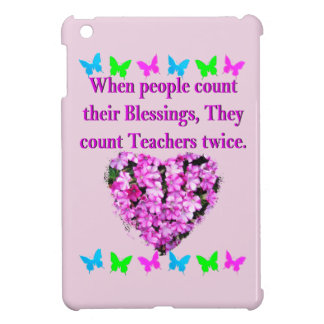 PRETTY PINK FLORAL TEACHER DESIGN COVER FOR THE iPad MINI