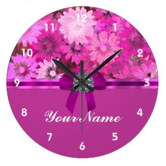 Pretty pink floral wall clock