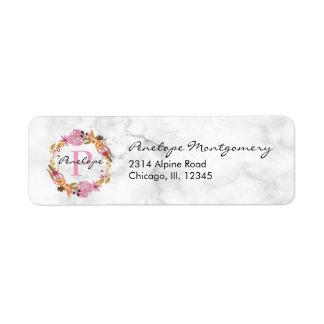 Pretty Pink Floral Wreath Monogram Return Address Label