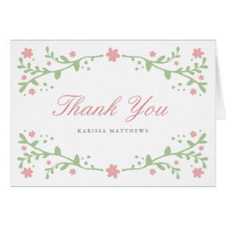 Pretty Pink Florals Thank You Note Card