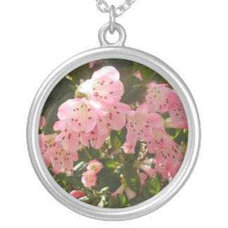 Pretty pink flower necklace. round pendant necklace