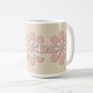 Pretty Pink Flowers Add  Initials Floral Mug