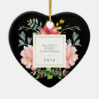 Pretty Pink Flowers Babys First Christmas on Black Ceramic Ornament