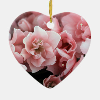 Pretty Pink Flowers Ceramic Heart Decoration
