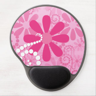 Pretty Pink Flowers Cute Retro Daisy Pattern Gel Mouse Pad