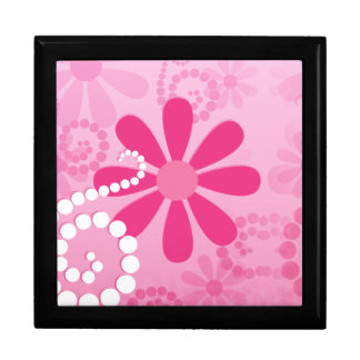 Pretty Pink Flowers Cute Retro Daisy Pattern Large Square Gift Box