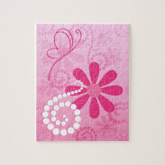 Pretty Pink Flowers Cute Retro Daisy Pattern Jigsaw Puzzles