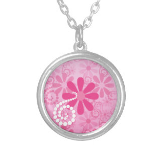 Pretty Pink Flowers Cute Retro Daisy Pattern Silver Plated Necklace