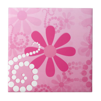Pretty Pink Flowers Cute Retro Daisy Pattern Small Square Tile