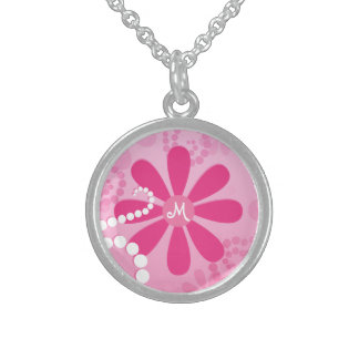 Pretty Pink Flowers Cute Retro Daisy Pattern Sterling Silver Necklace