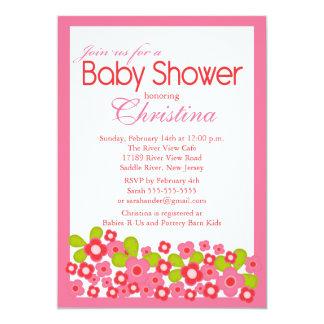 "Pretty Pink Flowers Girl Baby Shower Invitation 5"" X 7"" Invitation Card"