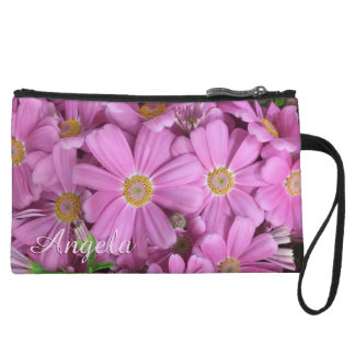 Pretty Pink Flowers Personalized Wristlet Clutch