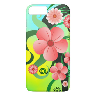 Pretty Pink Flowers Tropical Hibiscus Floral Slim iPhone 8 Plus/7 Plus Case