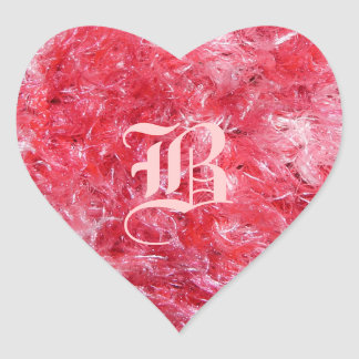 Pretty Pink Fluffy Heart with Your Initial! Heart Sticker
