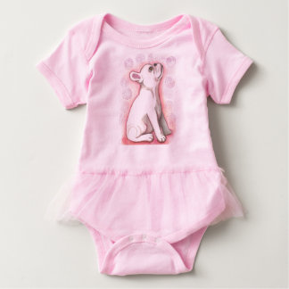 Pretty pink French Bulldog baby bodysuit