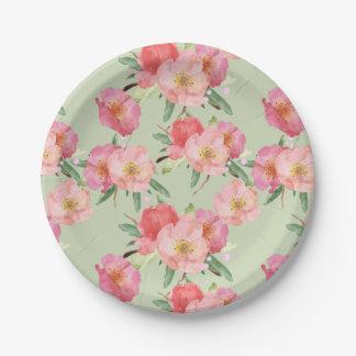 Pretty Pink Garden Flowers Watercolor 7 Inch Paper Plate