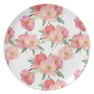 Pretty Pink Garden Flowers Watercolor Dinner Plates