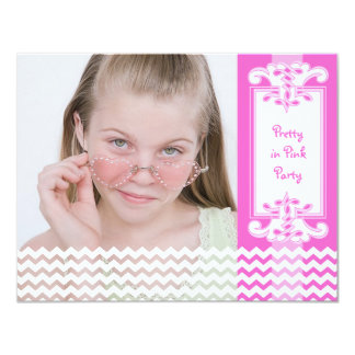 Pretty Pink Girl's 12th Birthday Party Photo Card