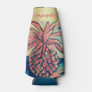 Pretty Pink Gold Trendy Pineapple Bottle Cooler