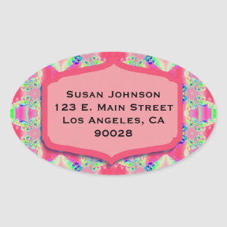 Pretty Pink Green Abstract Design Oval Sticker