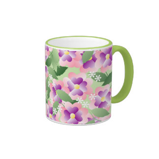 Pretty Pink Green and White Floral Pattern Ringer Mug