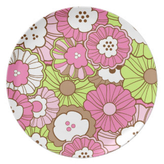 Pretty Pink Green Flowers Spring Floral Pattern Dinner Plate