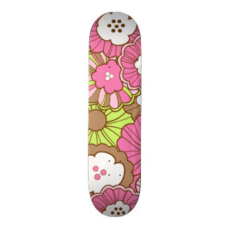 Pretty Pink Green Flowers Spring Floral Pattern Skateboard