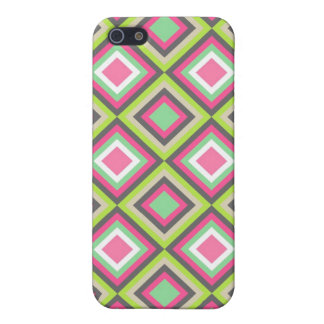 Pretty Pink Green Gray Diamonds Square Pattern Case For The iPhone 5