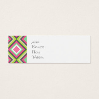 Pretty Pink Green Gray Diamonds Square Pattern Mini Business Card