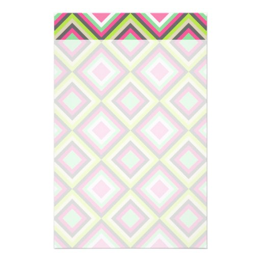Pretty Pink Green Gray Diamonds Square Pattern Stationery