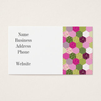 Pretty Pink Green Mulberry Patchwork Quilt Design Business Card