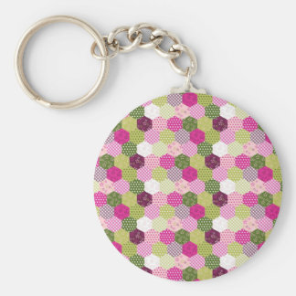 Pretty Pink Green Mulberry Patchwork Quilt Design Key Chain