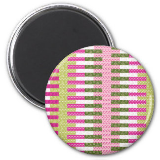 Pretty Pink Green Patchwork Quilt Design Gifts 6 Cm Round Magnet