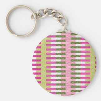 Pretty Pink Green Patchwork Quilt Design Gifts Basic Round Button Key Ring