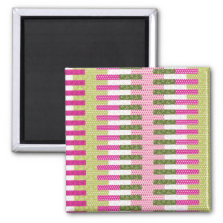 Pretty Pink Green Patchwork Quilt Design Gifts Square Magnet