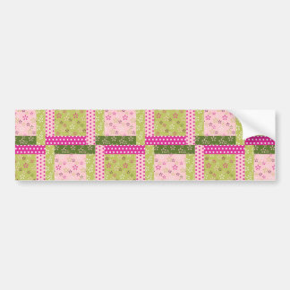 Pretty Pink Green Patchwork Squares Quilt Pattern Bumper Stickers