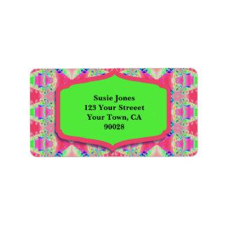 Pretty Pink Green Pattern Design Address Label