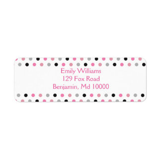 Pretty Pink grey and black polka dots Return Address Label